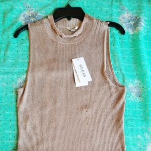 Beige Shimmer Ribbed Tank Top Fashion Blouse Sz L